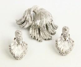 VINTAGE Jewelry MONET SILVER METAL MODERNIST LEAF SET BROOCH & EARRINGS - $75.00