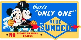 Blue Sunoco Mickey and Minnie Metal Sign - $49.95