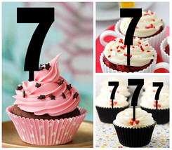7th Birthday Anniversary Cupcake topper, 7th Birthday Package : 10 pcs - $10.00