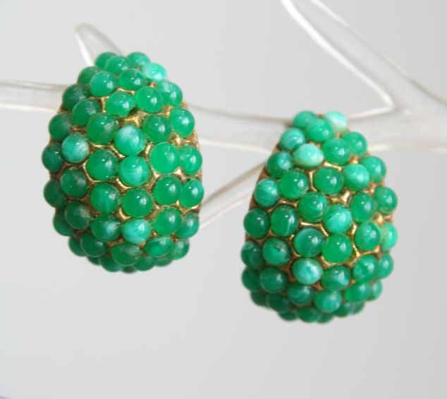 Primary image for Art Moderne 60s Stunning Simulated Jade Earrings