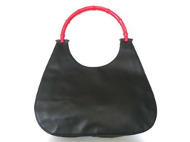 Authentic GUCCI Black Red Leather Bamboo Handle Shoulder Bag Purse - $155.40