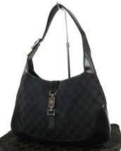 Auth GUCCI Jackie O Black GG Canvas and Leather Tote Shoulder Bag Purse ... - $377.10