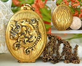 Vintage Brass Locket Pendant Necklace Gold Black Pattern  - $24.95