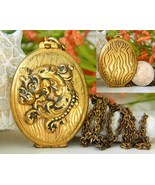 Vintage Antiqued Brass Locket Pendant Necklace Chain Gold Black Floral - £18.96 GBP