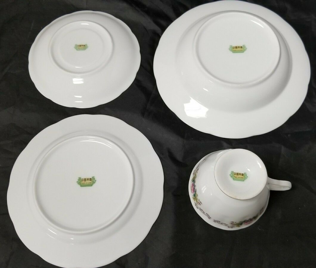 Chinese Fine Bone China Set of 32, 8 Each Soup Bowls, Cups, Saucers, Bread Plate image 9