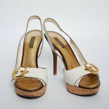 Louis Vuitton Slingbacks Sandals White Leather High Heels Stilettos EU 39 US 8 - $279.25