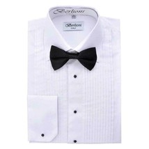 Berlioni Italy Men's Laydown Collar Tuxedo Dress Shirt White New w/o Bow-Tie