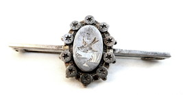Antique circa 1880 Aesthetic Period Sterling Silver Etched Design BROOCH... - $75.96