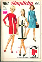 1960s Size 14 Bust 36 Easy Jiffy Dress Raised Neckline Simplicity 7940 Pattern - $12.99