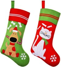 2 Pieces Pet Christmas Stockings Pet Xmas Sock Decoration With Embroider... - $18.72