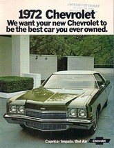 1972 Chevrolet CAPRICE BEL AIR IMPALA brochure catalog Chevy - $8.00