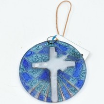 Dove with Cross Religious Fused Art Glass Ornament Sun Catcher Handmade Ecuador image 2