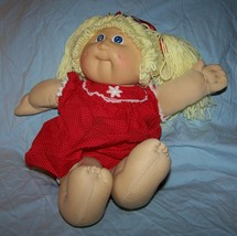 Vintage 1985 Cabbage Patch Girl Doll w/blonde pigtails, blue eyes, red outfit - $20.00
