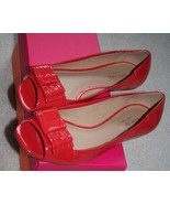 Kate Spade flame red soft patent bow peep toe o... - $99.00