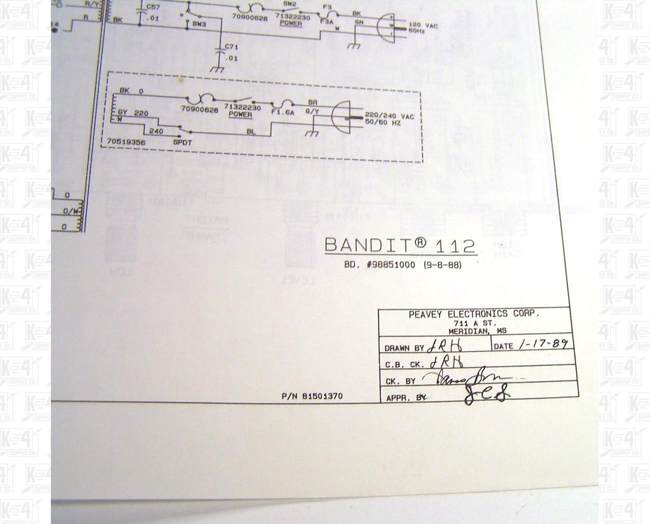Peavey Bandit 112 Amplifier Schematic and Diagram