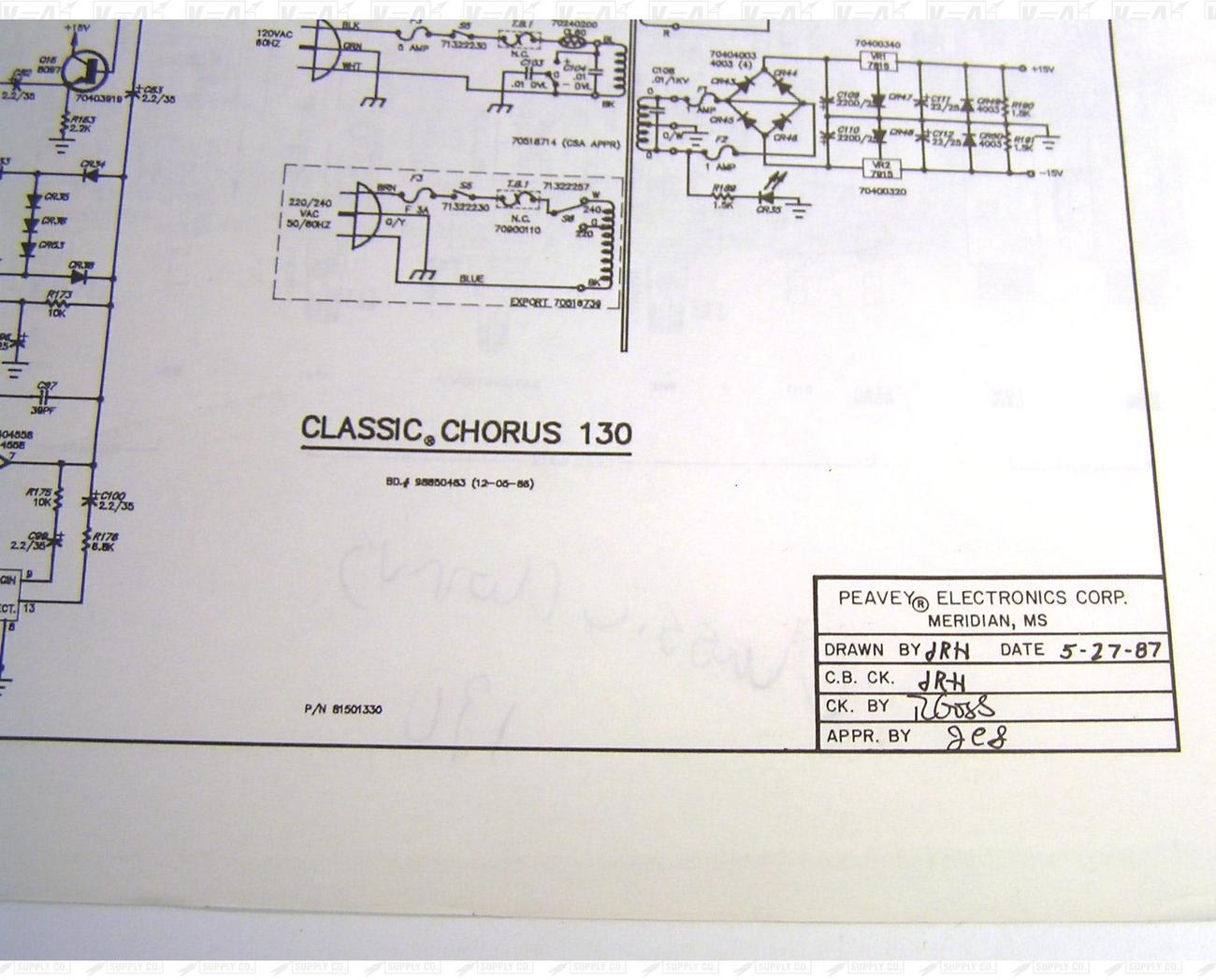 Peavey Classic Chorus 130 Amplifier Schematic And Diagram