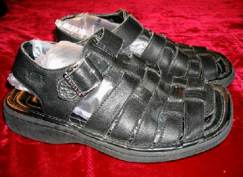 Mens SKECHERS Black Leather Sandals 7 Summer Shoes