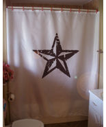 Printed Shower Curtain lone star symbol five point Texas rough republic - $90.00