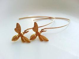 Gold Bee Earrings Gold Bee Charm Dangle Earrings Long Gold Ear Wires - $25.00