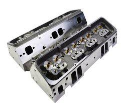SBC Small Block Chevy GM Angle Plug Aluminum Cylinder Head Set 64cc 2.02/1.60 image 3