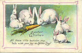 Little Bunnies Wishing You Easter Joy Vintage 1924 Post Card - $3.00