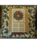 Christmas Holiday door Wreath Holly Berry Throw Pillow - $9.99