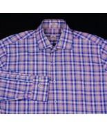 Peter Millar Multi Color Plaid Dress Shirt Cotton Sz M - $26.99