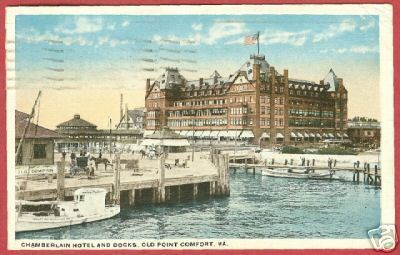 Old Point Comfort VA Postcard Hotel docks Boats '17 BJs