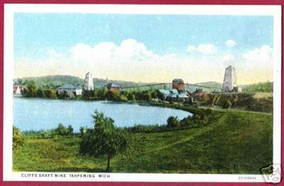 Ishpeming MI Cliffs Shaft Mine UP Mining Postcard BJs