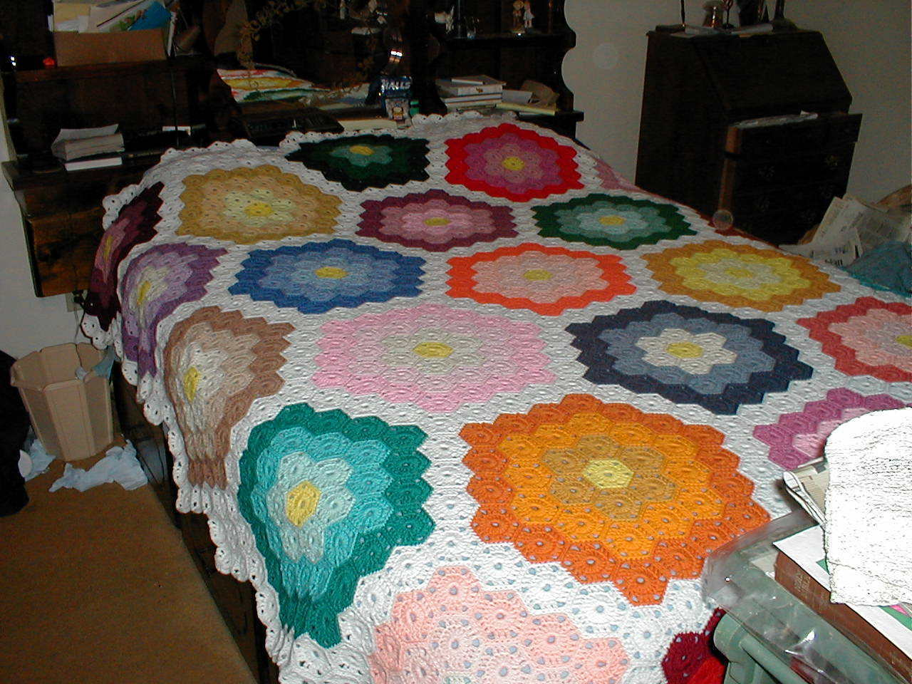 Handmade Crochet Afghan; Queen-Size; Mosaic Pattern - Other