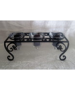 Wrought Iron Candle Holder 3 Iridescent Teardro... - $24.99