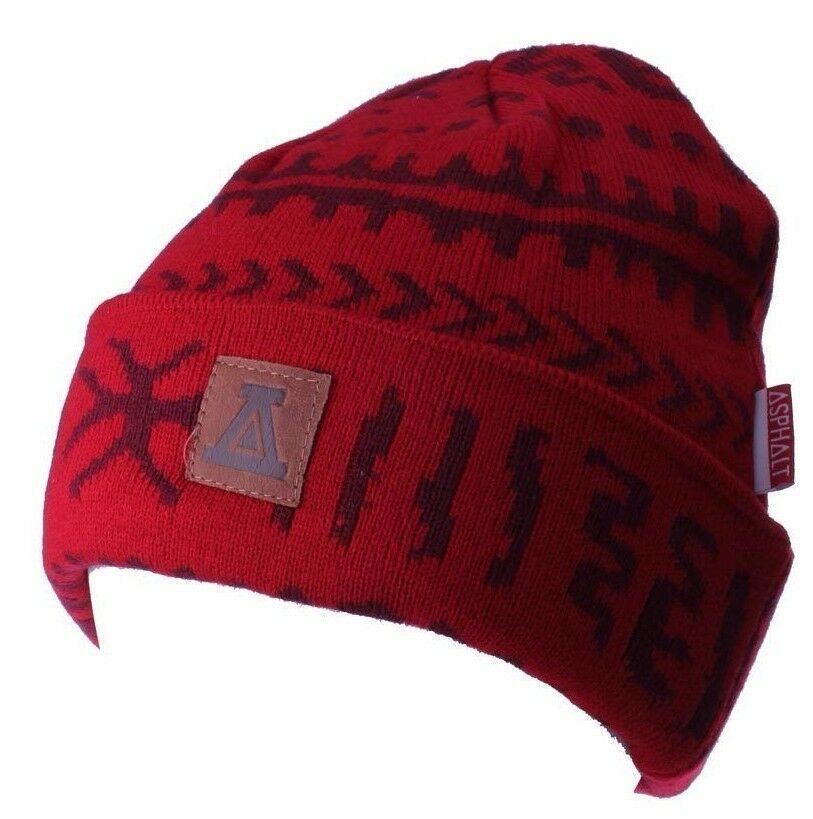 Asphalt Yacht Club Red Arcane Patch Cuff Beanie Skate Winter Hat AYC1410822 NWT