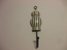 Shabby Chic Wooden Black And White Striped Dress Wall Hook 7 Inches Long - $15.83