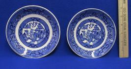 Vintage Set 2 Homer Laughlin Blue Willow Saucer Plates USA Made Asian Pagoda - $7.91