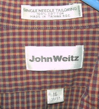 Mens John Weitz Long Sleeve Cotton Button Shirt 16 Sz L