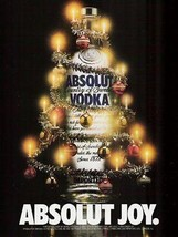 Absolut Joy 1988 Decorated Bottle AD Absolut Vodka Christmas Tree Distil... - $14.99