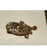 Lapel Pin Brass Turquoise Vintage - $7.00