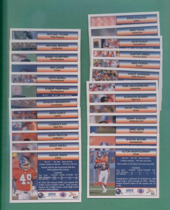 1992 Pacific Denver Broncos Football Team Set