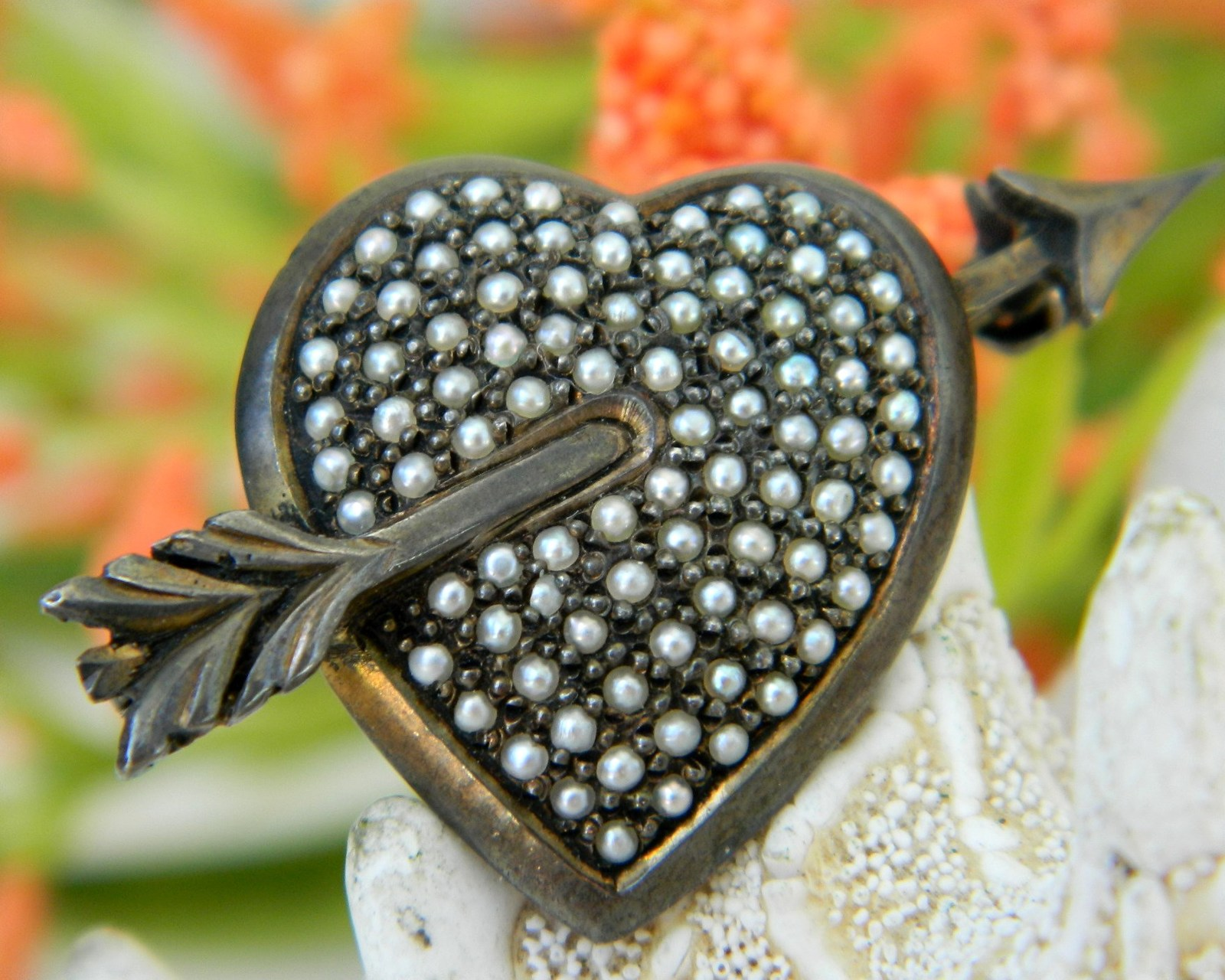Primary image for Sterling Silver Heart Seed Pearls Vintage Germany Pin Brooch