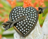 Sterling silver heart seed pearls vintage germany pin brooch thumb155 crop