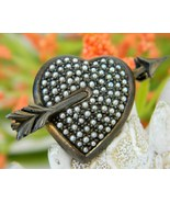 Sterling silver heart seed pearls vintage germany pin brooch thumbtall