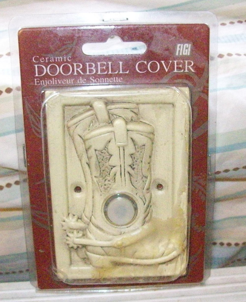 Ceramic Doorbell Cover Cowboy Boots- Light