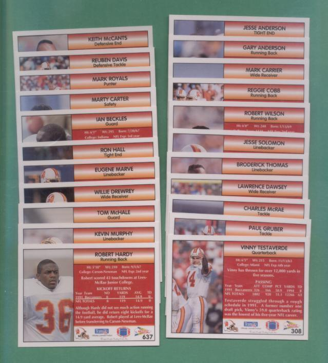 1992 Pacific Tampa Bay Buccaneer Football Team Set