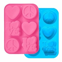 2 Pack Silicone Cake Mold, FineGood Heart Love Circle Shape Cupcake Tray... - $14.98