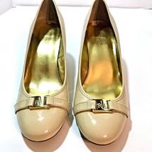 Lauren Ralph Shelbi Womens Shoes Size 10B Beige Nude Patent Pump Heels E... - $19.53