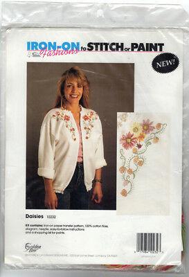 Vintage Iron On Embroidery Paint Kit Daisies Embellishment Golden Bee - $10.53