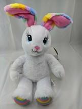 "Build a Bear White Rabbit Pastel Stripe Ears Feet 17"" Stuffed Animal Toy - $13.45"