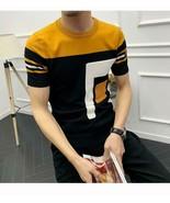 Men's Summer Dress Short Sleeve Knit T-Shirt Weave Slim Street Clothing ... - $35.85