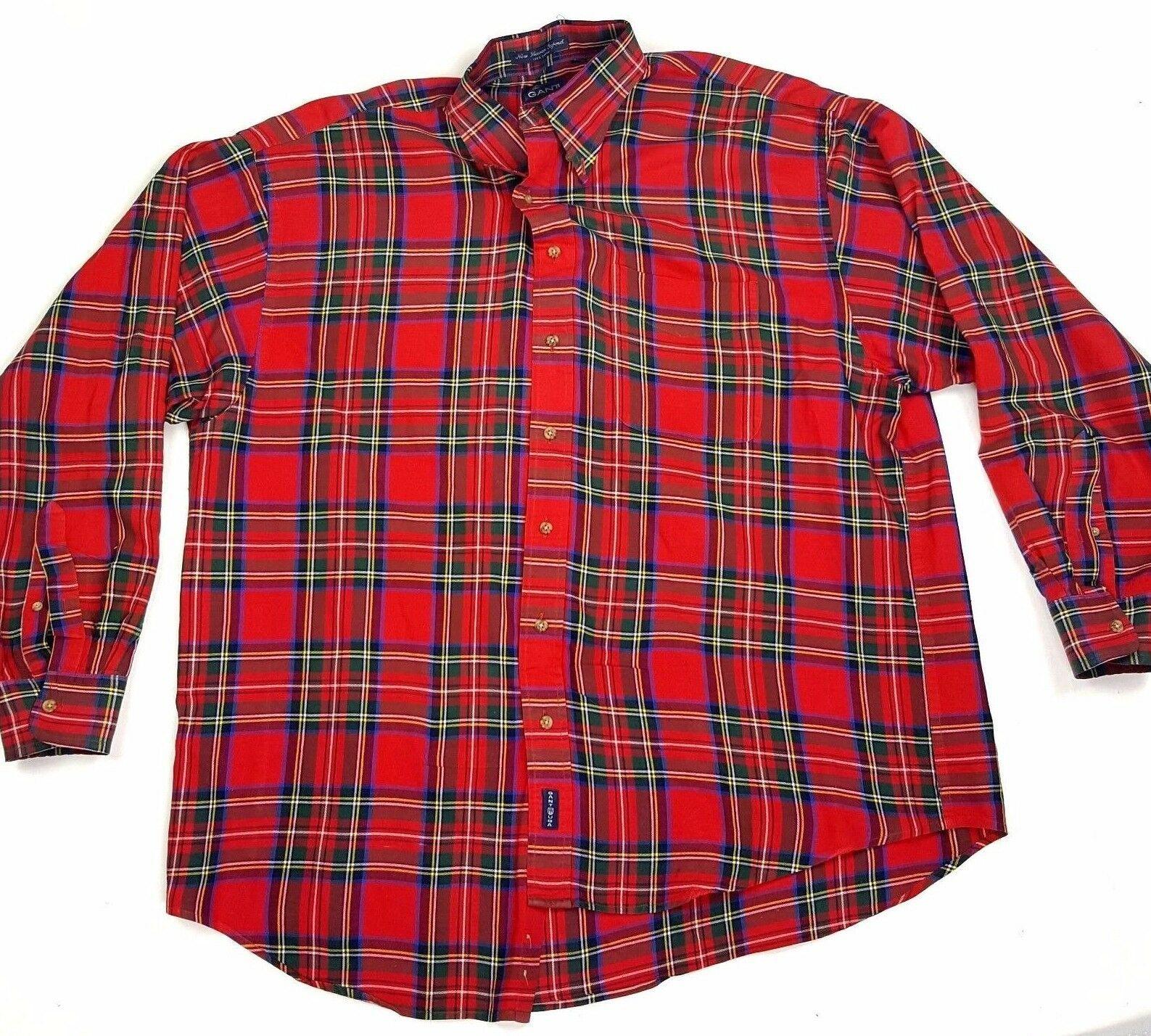 Gant New Haven Oxford Mens Size XL Red Blue Plaid Button Up Shirt EUC
