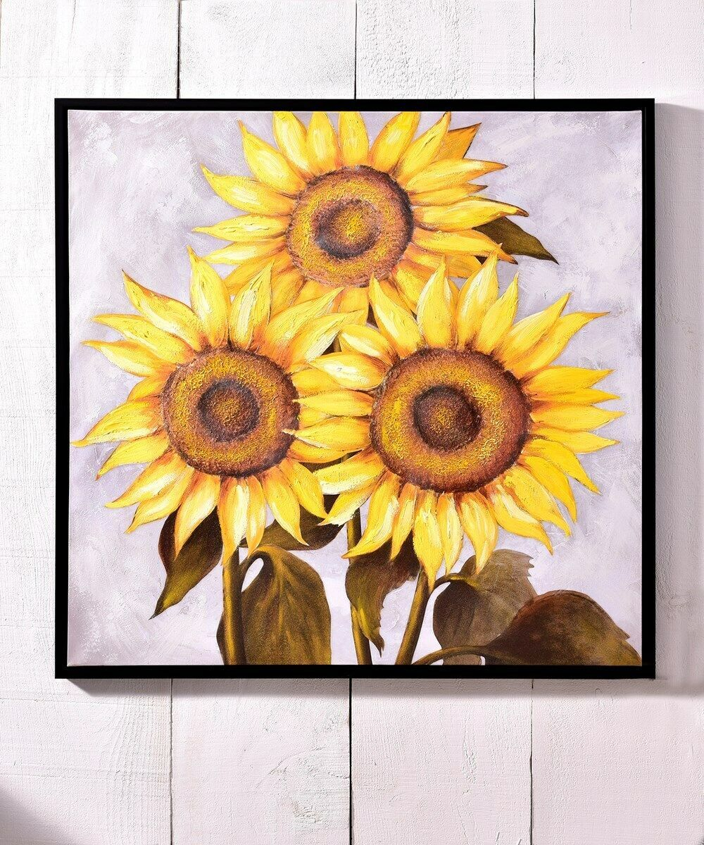 "Primary image for 40"" Sunflowers Canvas Oil Print Stretched Canvas"